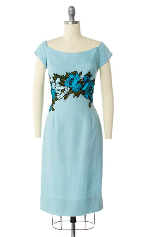 1950s Peggy Hunt Floral Linen Wiggle Dress