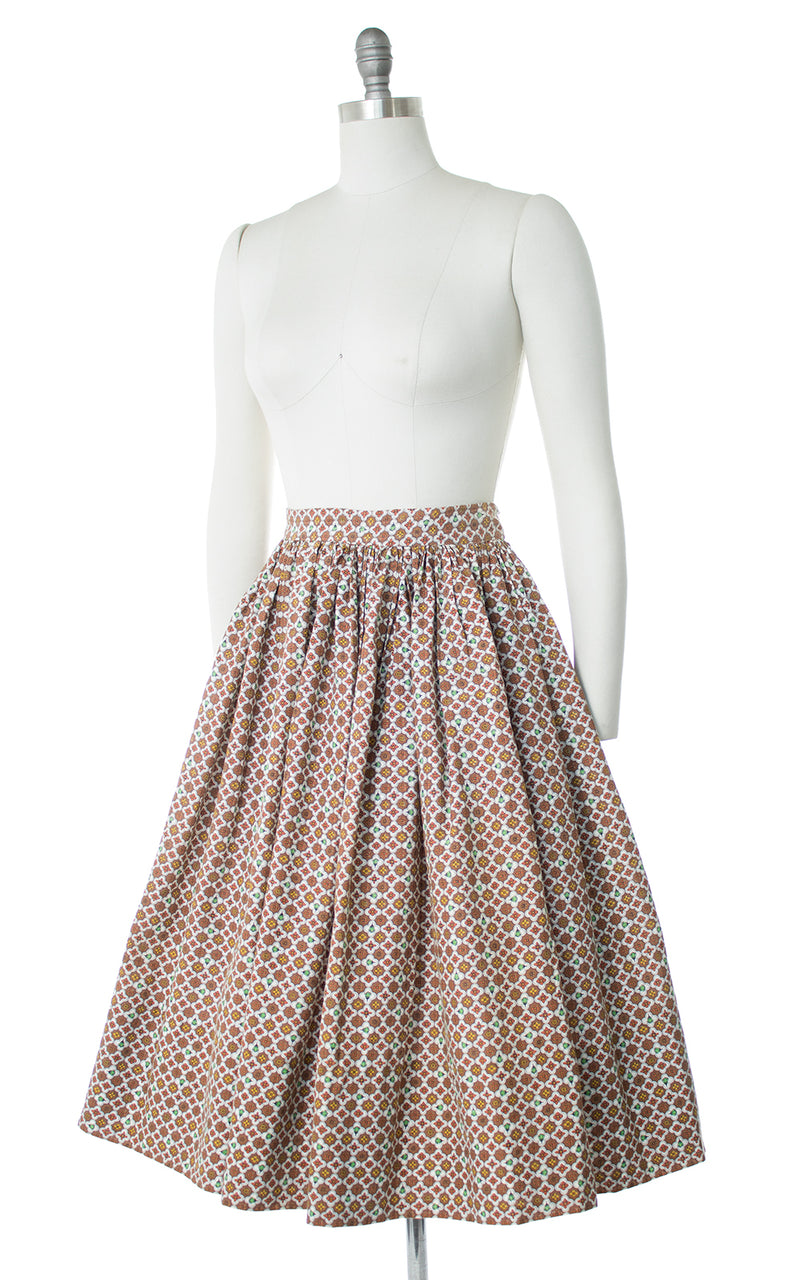 1950s Floral Cotton Skirt