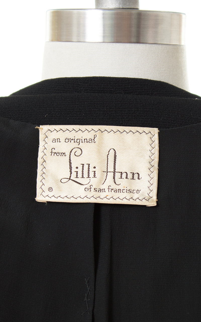 1950s Lilli Ann Black Wool Skirt Suit