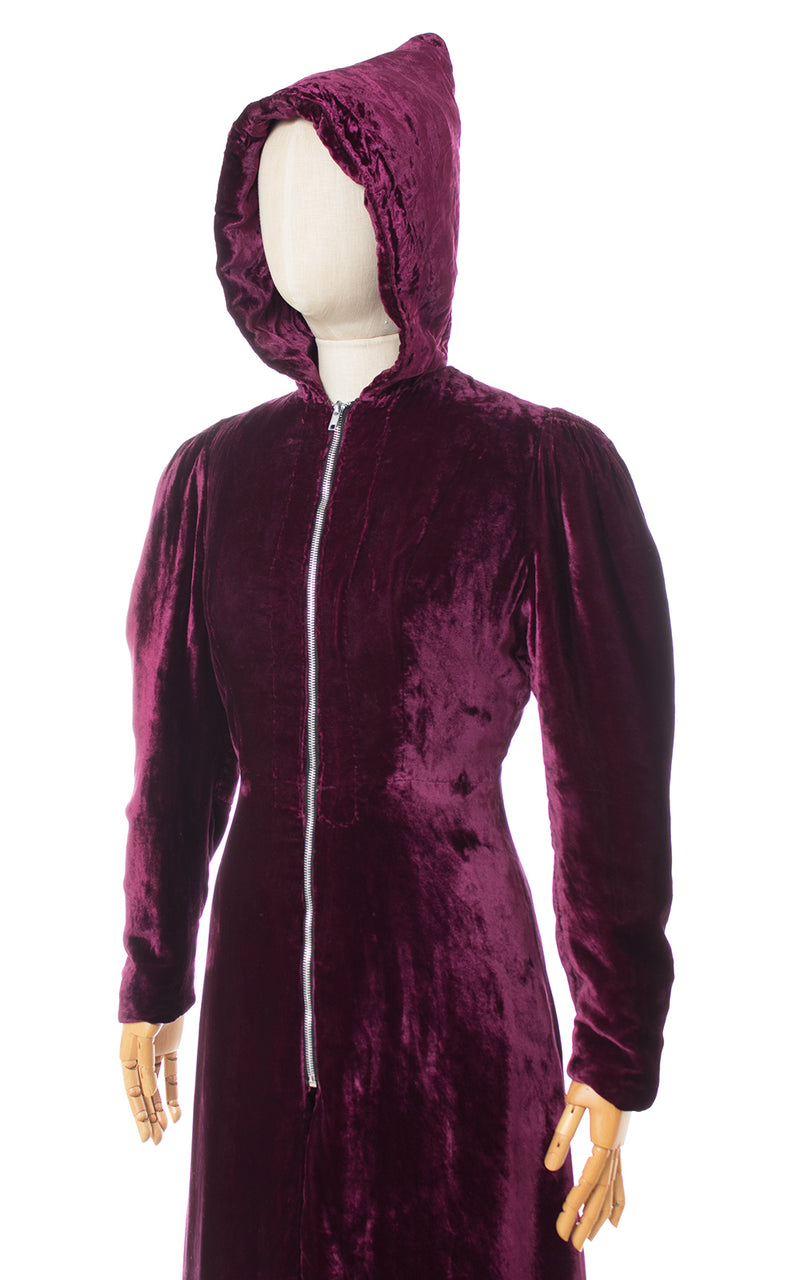 1930s Hooded Purple Silk Velvet Coat