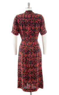 1940s Grecian Novelty Print Shirtwaist Dress