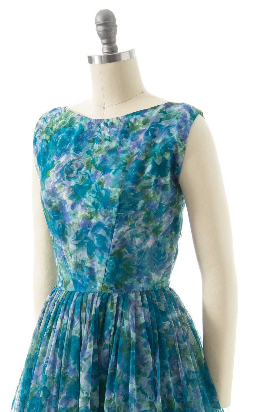 1960s Floral Chiffon Overlay Party Dress
