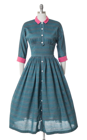 1950s Striped Teal & Pink Day Dress