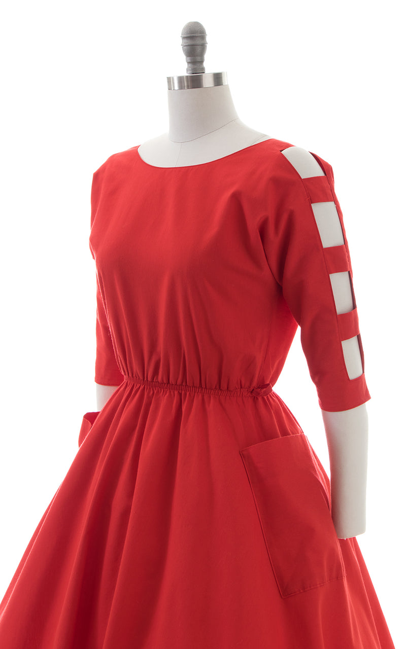 1980s Cutout Sleeves Red Dress with Pockets