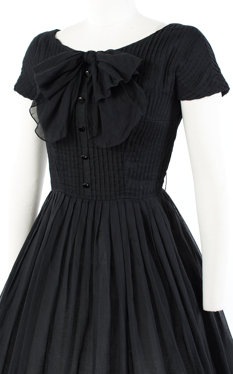 1950s Black Pintuck Cotton Voile Dress with Big Bow | small/medium