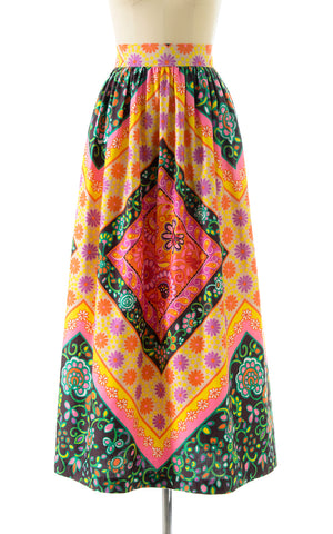 1960s Floral Geometric Maxi Skirt