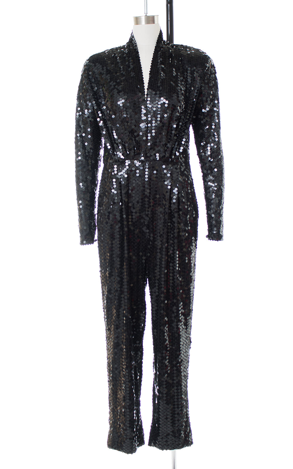 1980s Black Sequin Plunging Jumpsuit