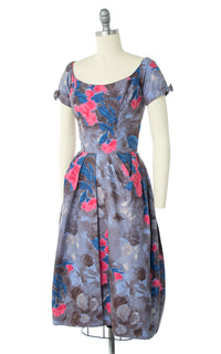 1950s Ceil Chapman Rose Printed Dress