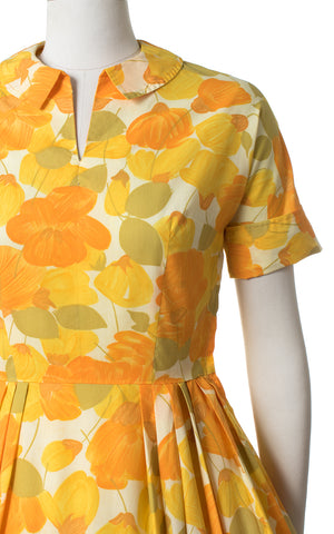 1950s Orange Floral Print Cotton Day Dress