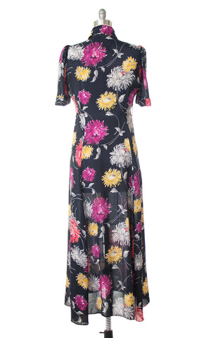 1940s Saybury Floral Cold Rayon Maxi Dress
