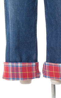 1950s Plaid Cuff Medium-Wash Denim Jeans | xs/small / modern US 2
