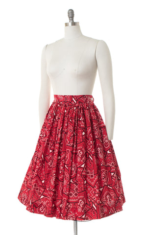 1950s Red Bandana Novelty Print Skirt