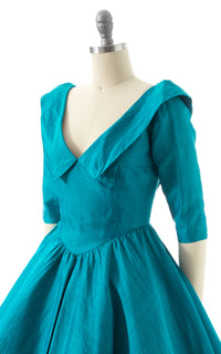 1950s Teal Silk Party Dress