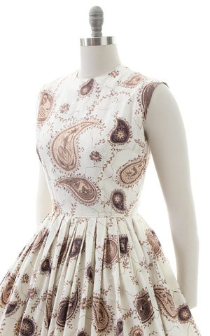 1950s Figural Paisley Novelty Print Cotton Sundress
