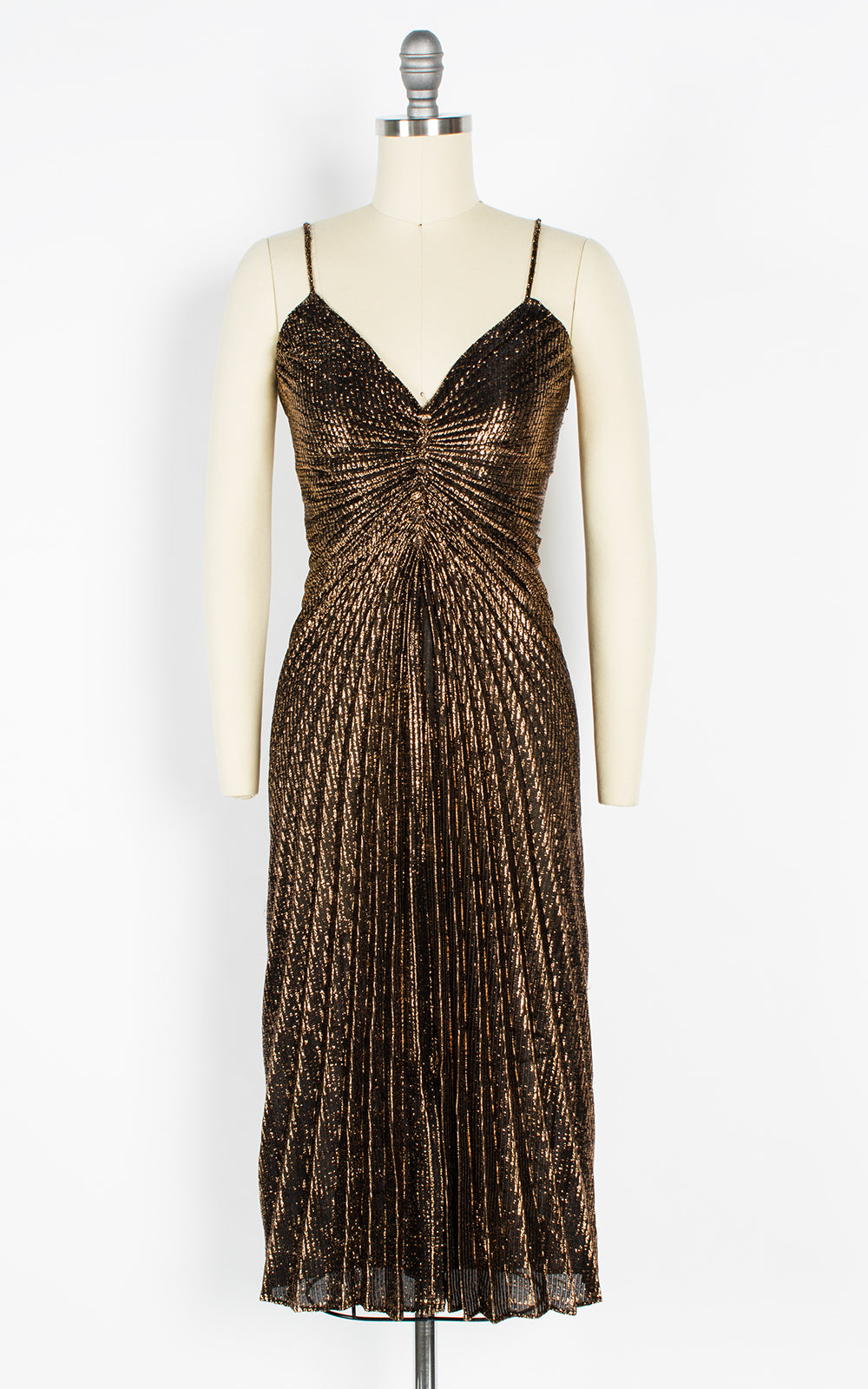 1950s Style Travilla Inspired Metallic Gold Pleated Party Dress