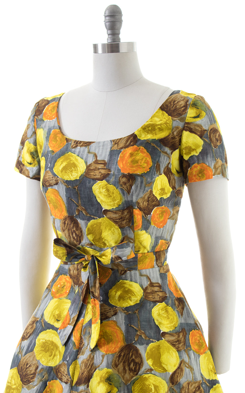 1950s Autumnal Floral Cotton Day Dress