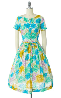 1950s Floral Shirtwaist Dress