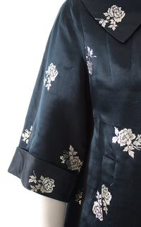 1950s Metallic Rose Silk Satin Jacquard Swing Coat