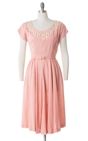 1950s Pink Linen Beaded Rhinestone Neckline Dress