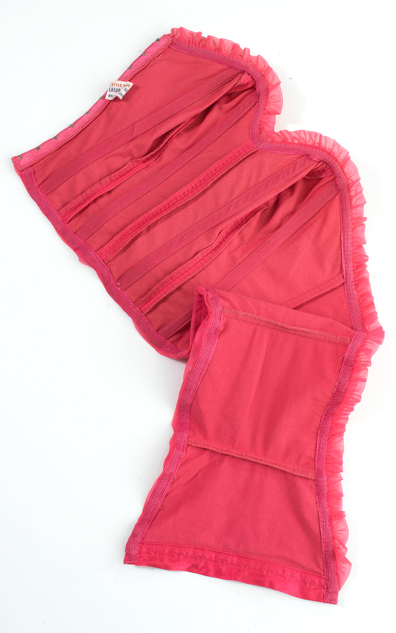 1950s Hot Pink Chiffon Sweetheart Bustier Top