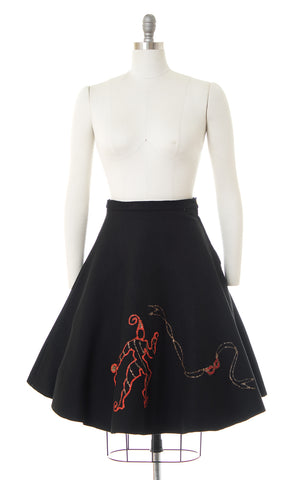 1950s Jester & Mask Novelty Felt Skirt