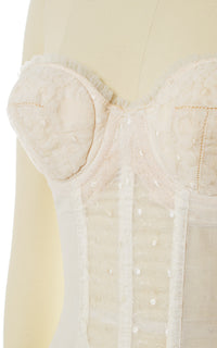 1950s Padded Lace Bustier Bra with Garters