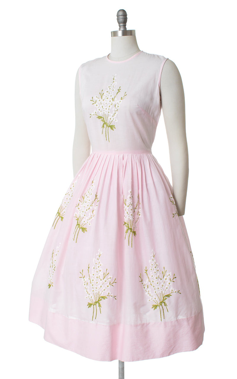 1950s Henry Rosenfeld Pink Floral Embroidered Sundress