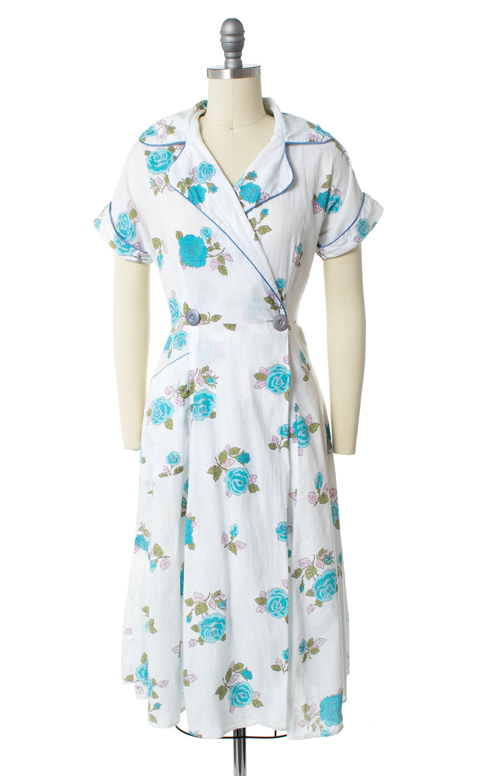 1940s Rose Print Cotton Wrap Dress with Pockets