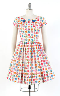 ♦ SOLD ♦ 1960s Floral Cotton White Day Dress | small/medium