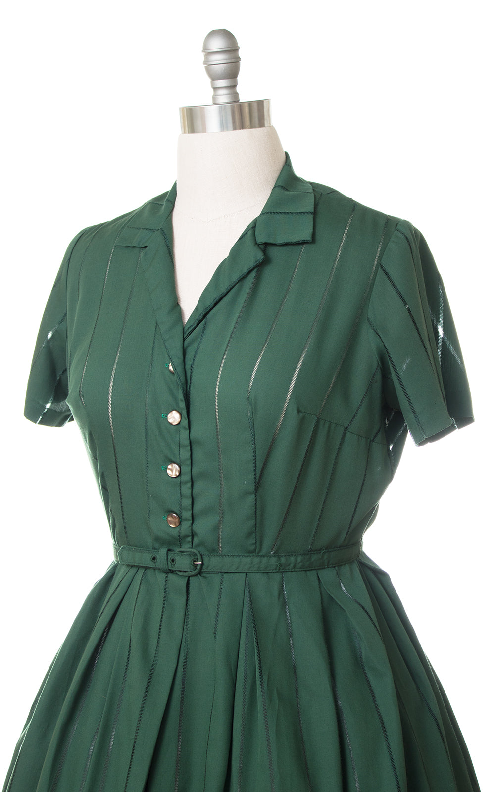 1950s Forest Green Cotton Shirtwaist Dress (x-large)