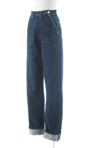 1940s Reproduction Freddies of Pinewood Buckle Back Jeans | small