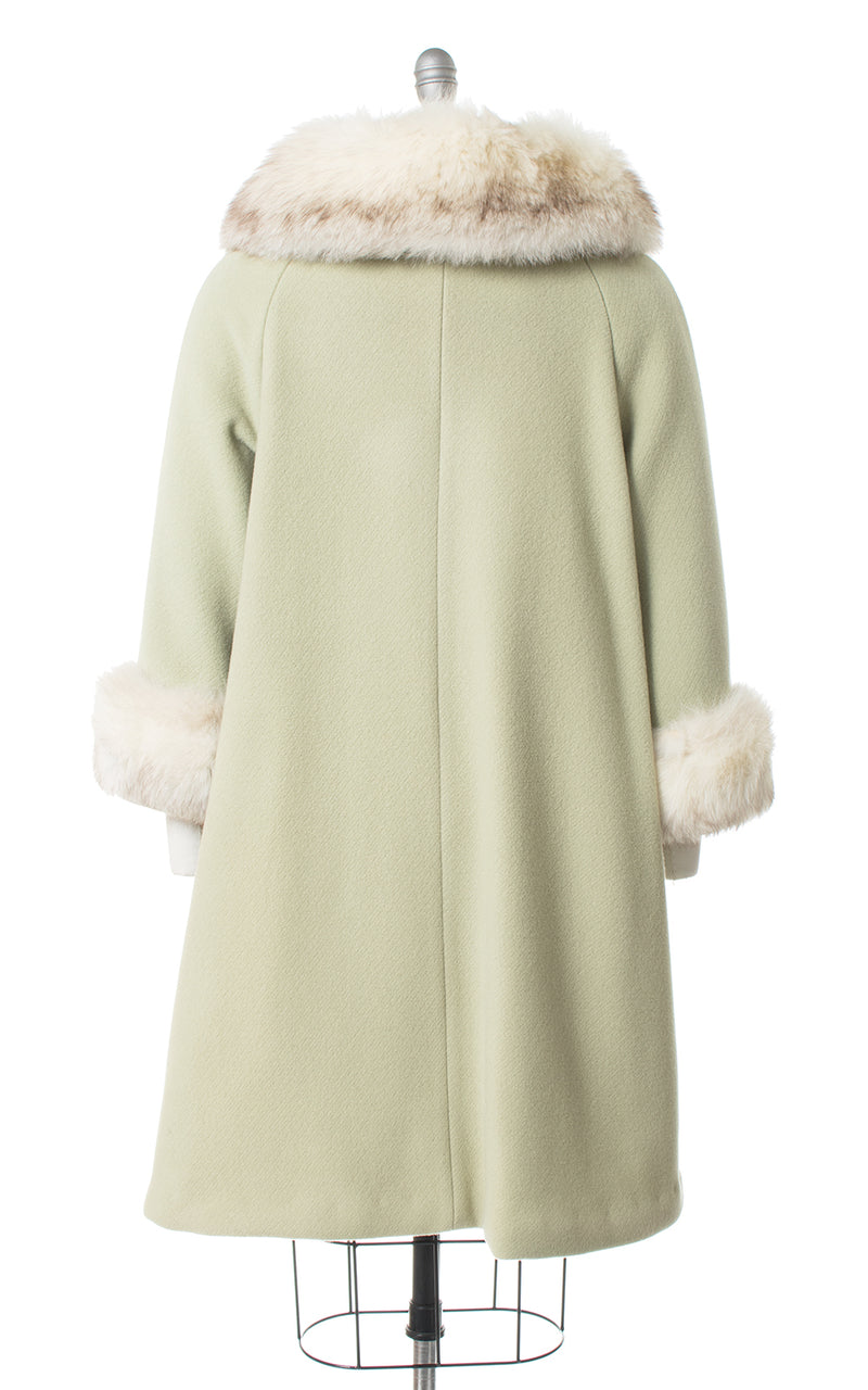 1960s Mint Green Wool & Fox Fur Belted Coat