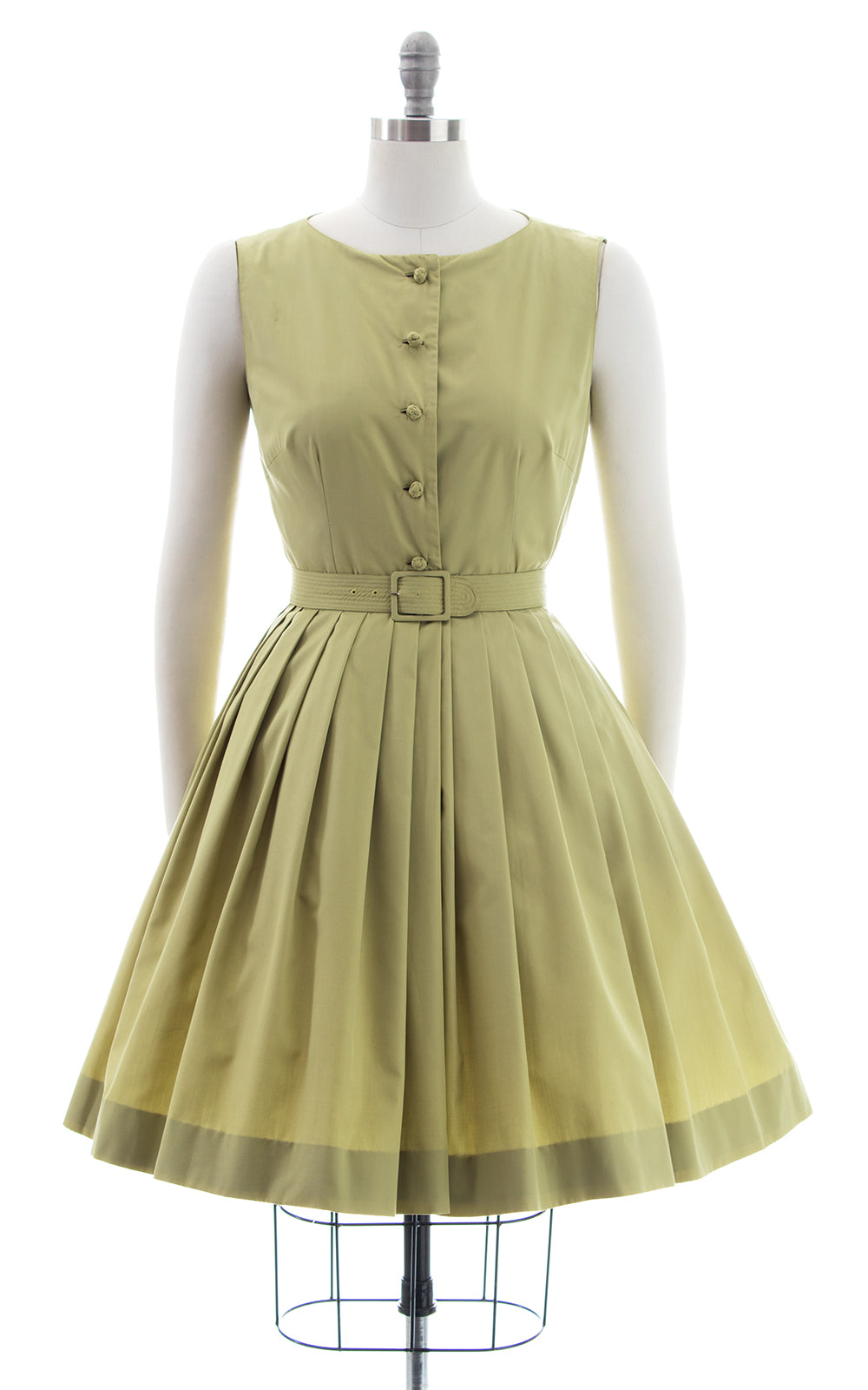 1950s Sage Green Cotton Shirtwaist Sundress