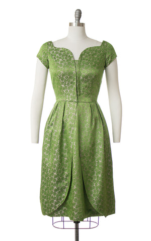 1960s Rose Satin Jacquard Petal Skirt Party Dress
