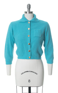 1950s Blue Knit Cropped Cardigan