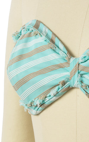 1950s Striped Cotton Bandeau Bra Top