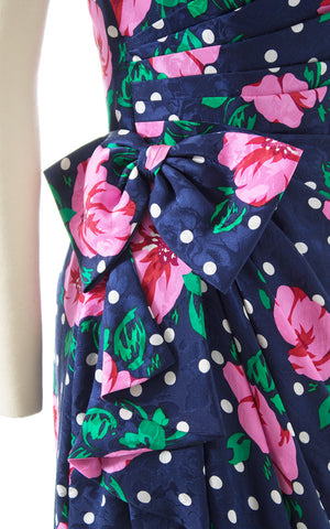 1980s Floral Polka Dot Silk Sarong Dress