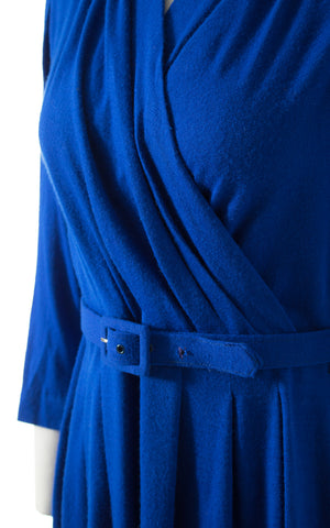 1950s Blue Wool Jersey Dress