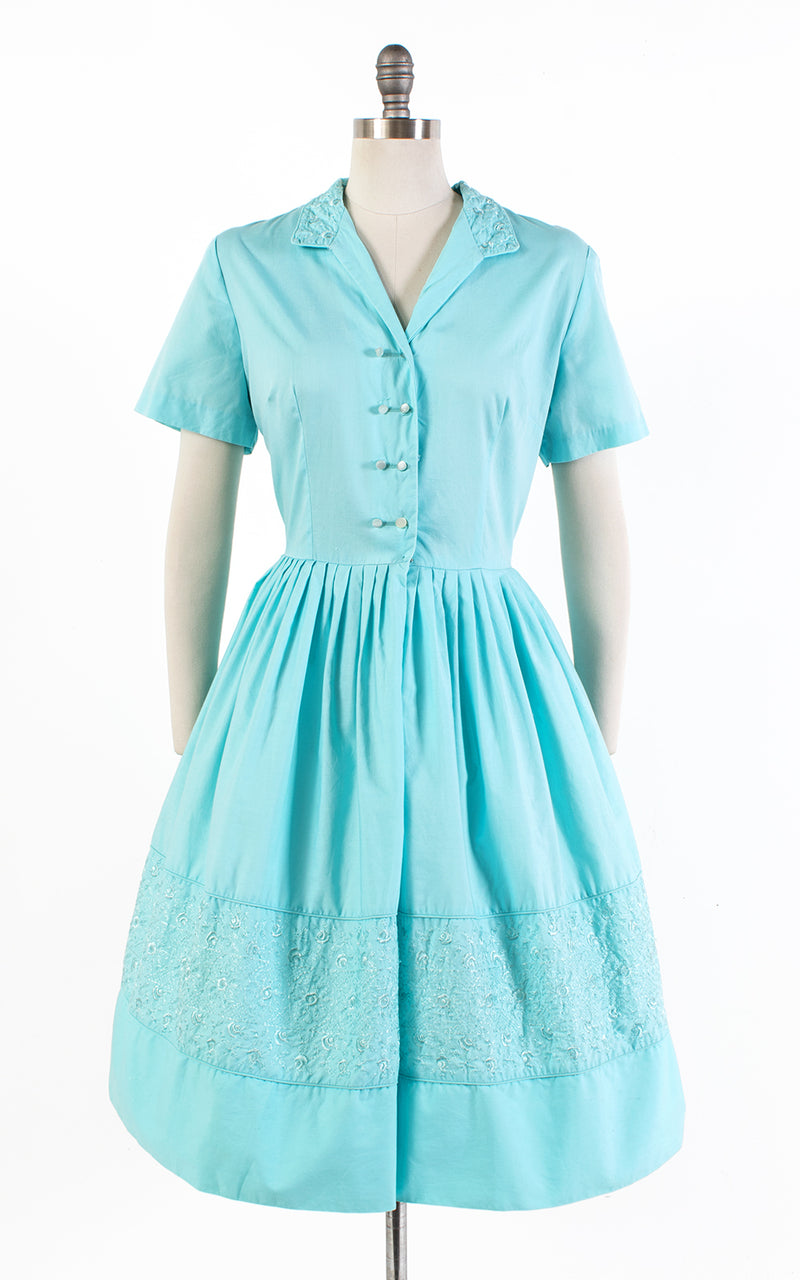 ♦ SOLD ♦ 1950s Floral Embroidered Blue Cotton Shirtwaist Dress | large