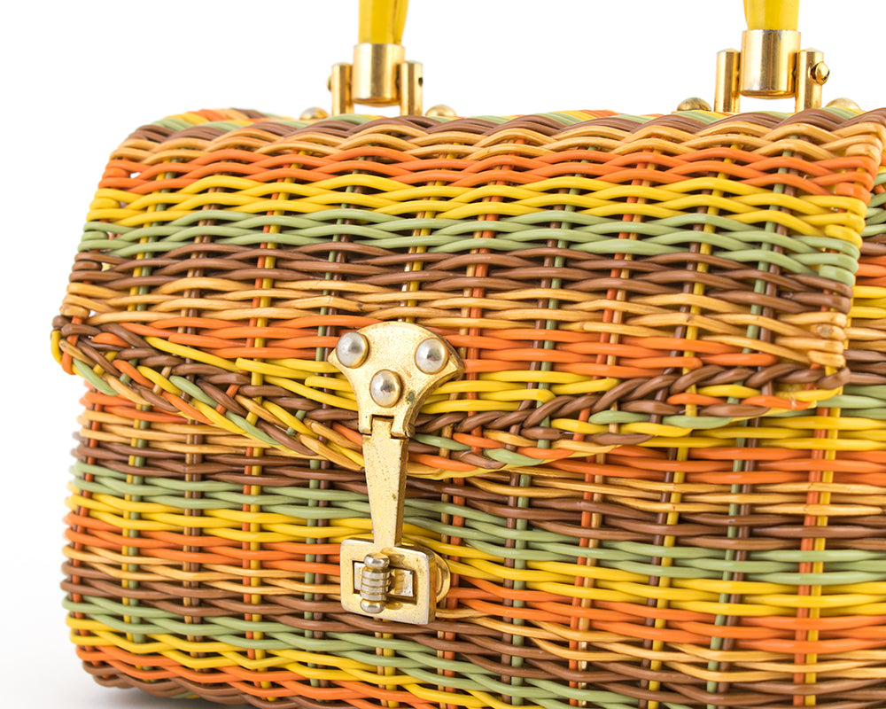 1960s Rainbow Wicker Box Purse
