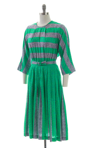 1950s Abstract Striped Pleated Skirt Dress