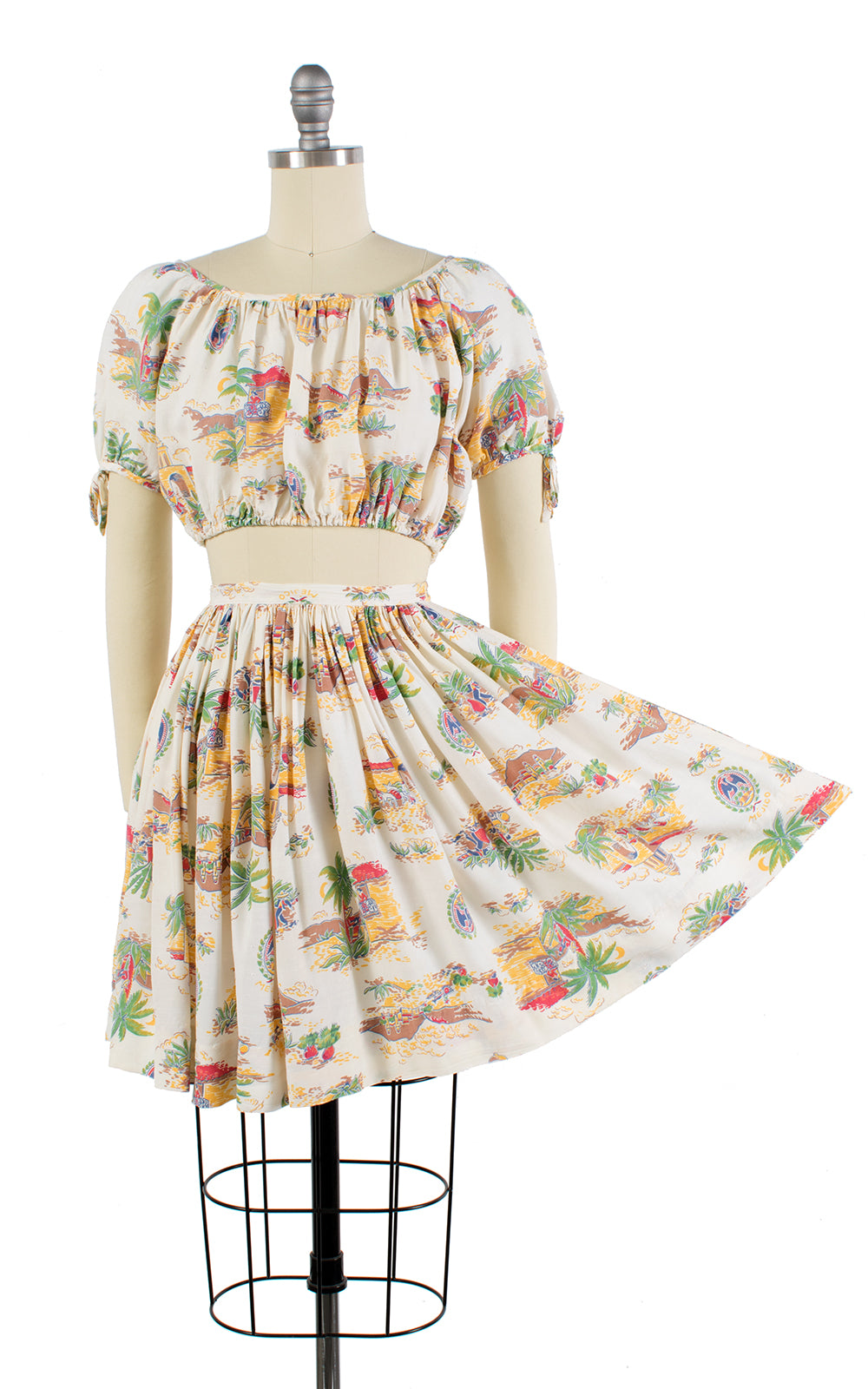 1940s Mexico Novelty Print Peasant Crop Top & Skirt Set