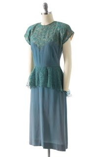 1940s Teal Rayon & Lace Peplum Cocktail Dress