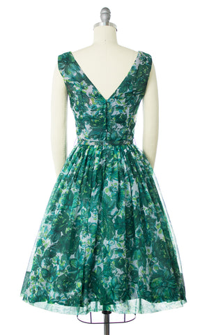 1960s Floral Chiffon Party Dress