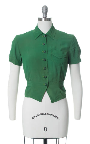 1930s 1940s Forest Green Rayon Crepe Blouse