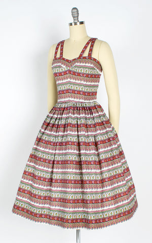 1950s Floral Striped Sundress with Criss-Cross Straps