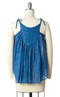 1970s Metallic Indian Cotton Butterfly Tank Top