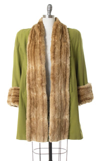 1940s Lime Green Wool & Mink Fur Coat
