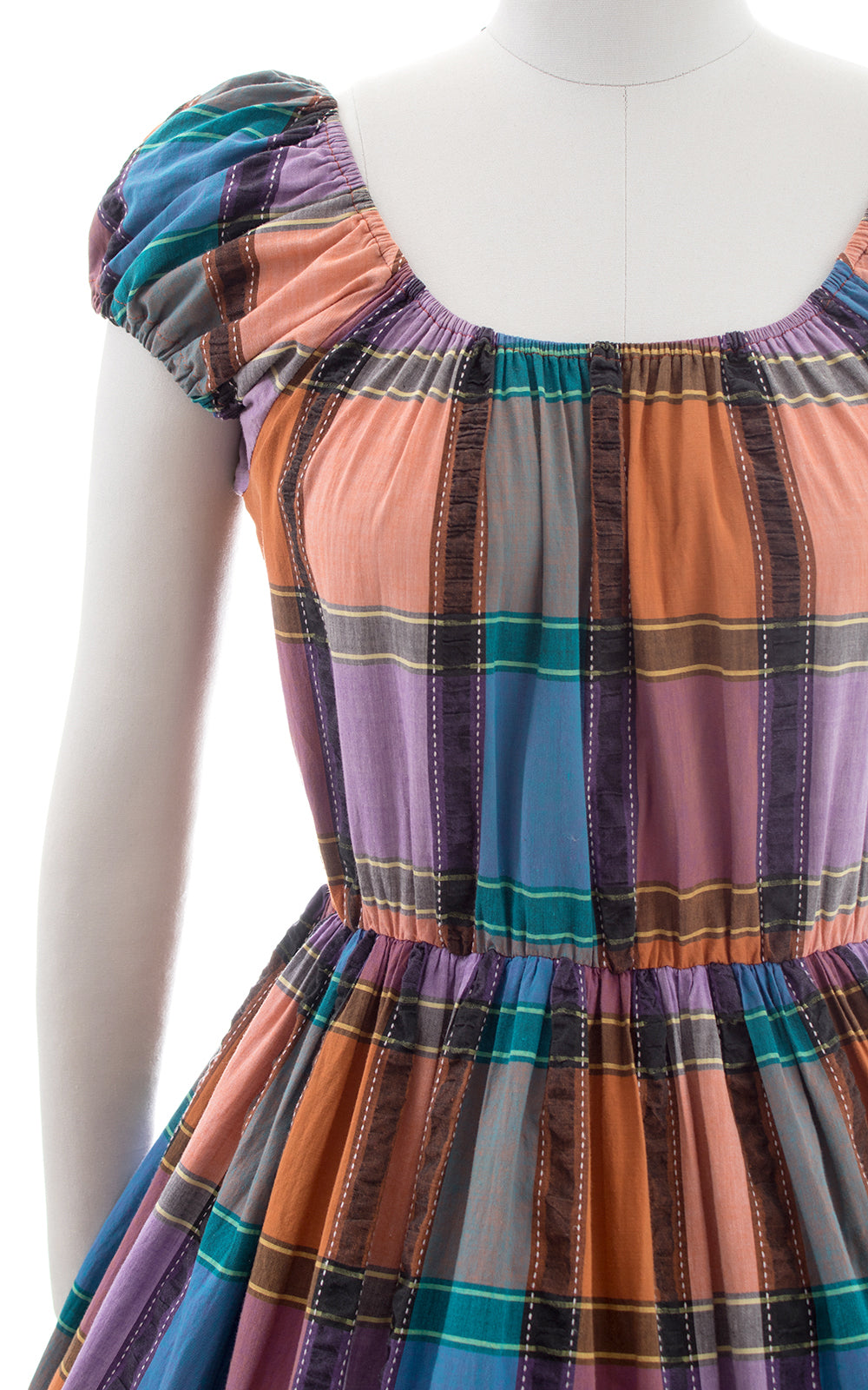 1970s Plaid Cotton On-Off Shoulder Peasant Dress