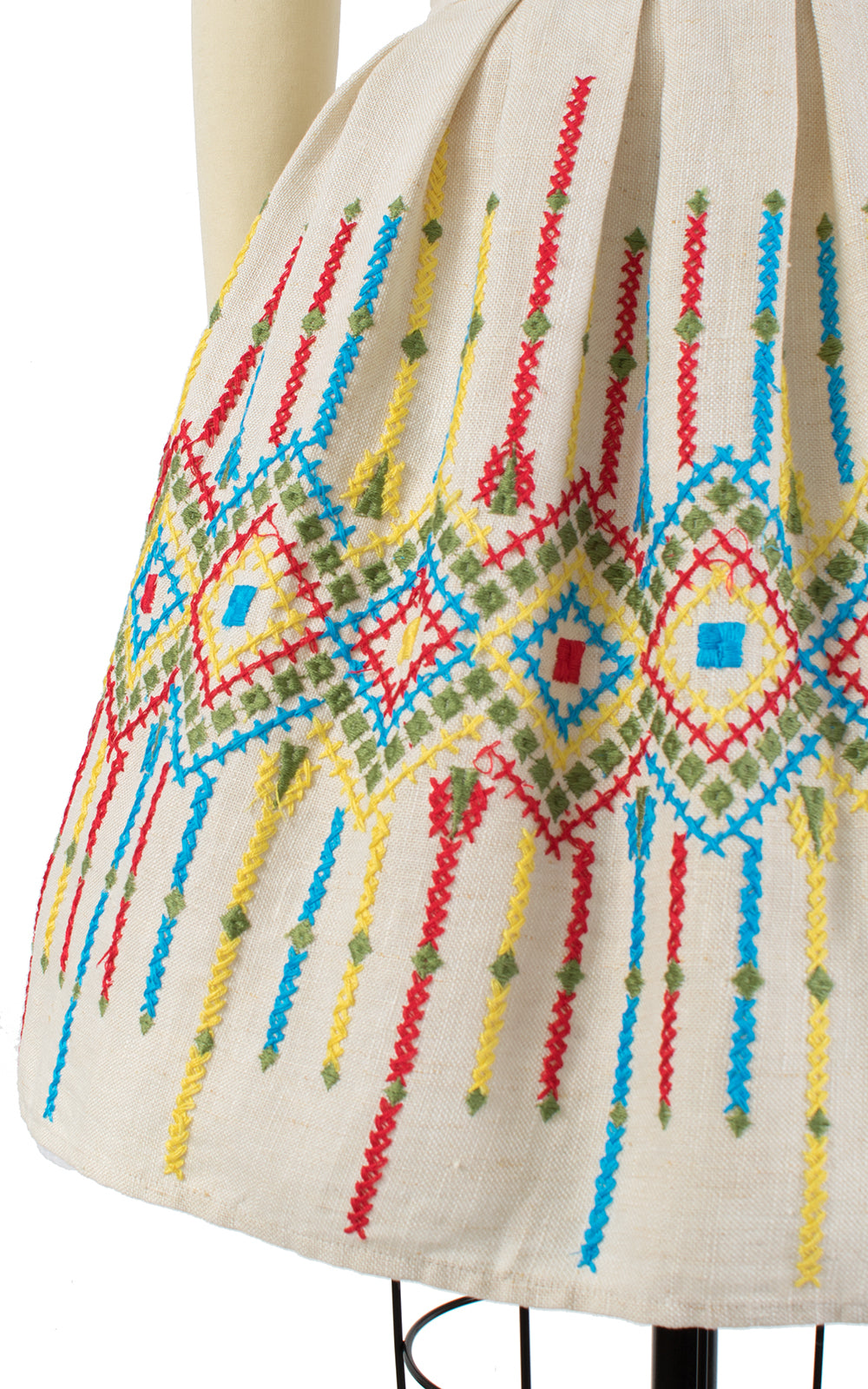 1960s Geometric Embroidered Oatmeal Linen Dress